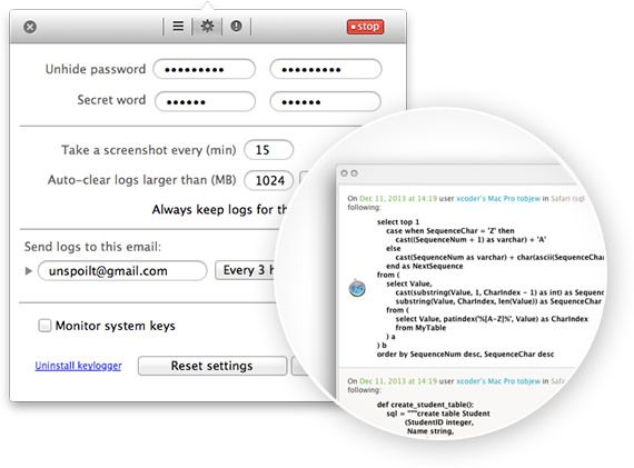 Elite Keylogger for Mac OS X: invisible, tracks passwords, free version