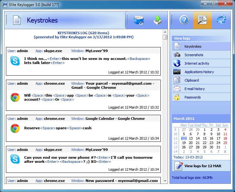 Track user activity with Widestep Keylogger!
